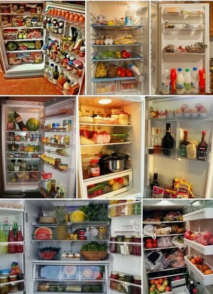 Холодильник с едой хранение продуктов
